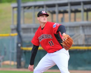 Wiles delivers a pitch against Kannapolis April 2015. (photo courtesy of Tracy Proffitt)