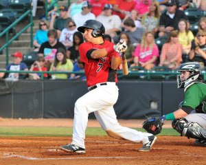 Jose Trevino cracked 14 homers and drove in 63 for Hickory in 2015 (photo courtesy of Tracy Proffitt)