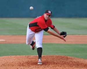Reliever Adam Parks delivers a pitch in a game against Delmarva on May 26 (Photo courtesy of Tracy Proffitt)