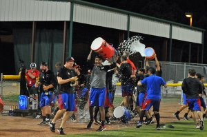 The Crawdads begin their celebration as the final out is recorded at West Virginia. (Photo courtesy Tracy Proffitt)