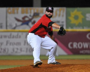 Joe Filomeno delivers a pitch vs. Savannah on Friday (Photo courtesy of Tracy Proffitt)