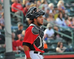Jose Trevino behind the plate for the Hickory Crawdads (Photo courtesy of Tracy Proffitt)