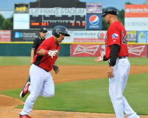 Jose Trevino crushed his 8th homer of the season for Hickory (photo courtesy of Tracy Proffitt)