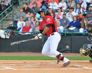 Josh Morgan leads the Crawdads in batting avg. (.301) and OBP (.386)