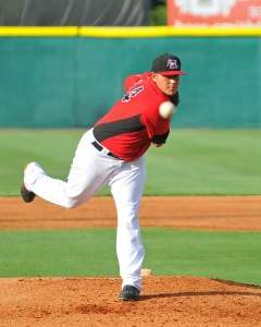 Luis Ortiz delivers a pitch in a game on May 25 vs. Delmarva (photo courtesy of Tracy Proffitt)