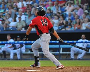 Luke Tendler shown here blasting a home run during the All-Star Game (photo by Tracy Proffitt)