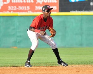 SS Michael De Leon continued to bring defensive wizardry to the Crawdads infield (photo by Tracy Proffitt)