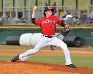 Nick Gardewine delivers a pitch Friday night vs. Savannah (photo courtesy of Tracy Proffitt)