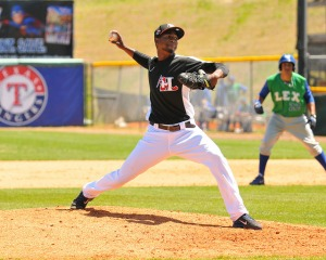 Abel De Los Santos had 12 Ks/ 1 BB in 10.1 innings in 2014 with Hickory (photo courtesy of Tracy Proffitt)