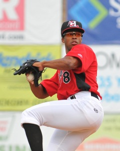 Dillon Tate made his first start for Hickory on August 15 at LP Frans Stadium (photo courtesy of Tracy Proffitt)