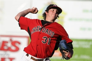 Shown here in a game against Charleston on June 16, 2011, Luke Jackson pitched out of a bases-loaded jam to help the Hickory Crawdads to a key win en route to a SAL first-half title (Photo by John M. Setzler, Jr.)
