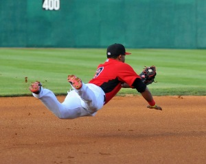 Josh Morgan making a diving catch on opening night against Hagerstown (photo courtesy of Tracy Proffitt)