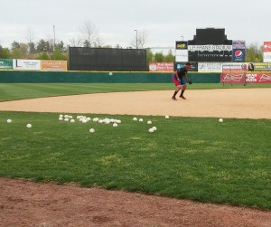 Josh Morgan taking extra ground balls at 3B (photo by Mark Parker)