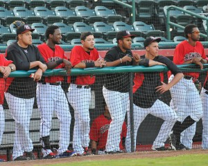 Jurickson Profar (second from left) observes action from 3B dugout (L-R Luis  Ortiz, Profar, Carlos Arroyo, Josh Morgan, Brett Martin, Dillon Tate, photo courtesy of Tracy Proffitt)