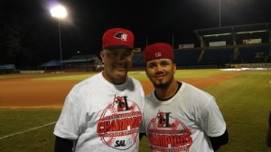 Hitting coach Francisco Matos (L) and Eduard Pinto (photo by Mark Parker