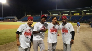 (L to R) Eduard Pinto, Juremi Profar, Edwin Garcia, Michael DeLeon (photo by Mark Parker