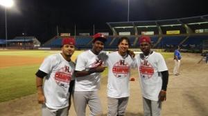 (L to R) Eduard Pinto, Juremi Profar, Edwin Garcia, Michael DeLeon (photo by Mark Parker