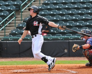 Dylan Moore went 7-for-12 in the final regular-season  series. So far, he has two hits in two playoff games. (Photo courtesy of Tracy Proffitt).