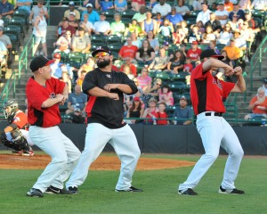 Joe Filomeno (center) and Collin Wiles (right) take part on a ZOOperstars dance-off routine (photo courtesy of Tracy Proffitt)