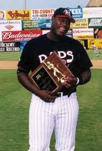 Walter Young shown with the 2002 SAL MVP award