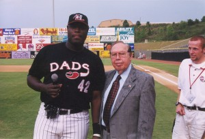 Walter Young with former SAL president John Moss (center) and Crawdads employee Jeremy Neisser