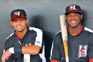 Rougned Odor (left) and Hanser Alberto, currently on the Texas Rangers playoff  roster vs. Toronto (photo courtesy of Tracy Proffitt)