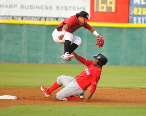 Rougned Odor (top) turns a double play against Kannapolis (photo courtesy of Tracy Proffitt)