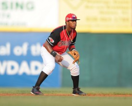 Cristian Inoa takes over at SS for the Crawdads (photo courtesy of Tracy Proffitt)